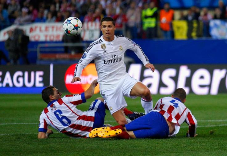 during the UEFA Champions League Quarter Final First Leg match between Club Atletico de Madrid and Real Madrid CF at Vicente Calderon Stadium on April 14, 2015 in Madrid, Spain.