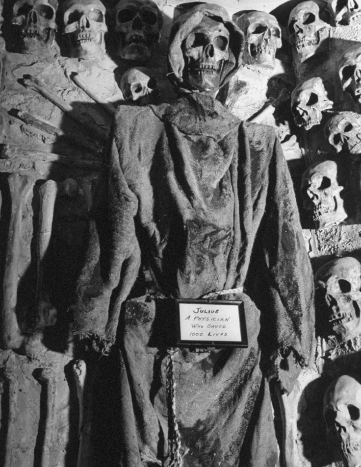 Plaster skulls and skeletons at the Catacombs Nightclub.  (Photo by Ralph Morse/Pix Inc./The LIFE Images Collection/Getty Images)