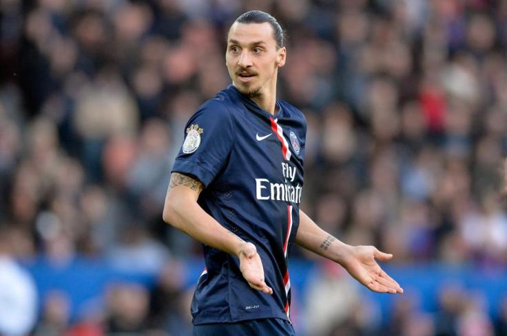 PARIS, FRANCE - MARCH 07:  Zlatan Ibrahimovic of PSG reacts during the French Ligue 1 match between Paris Saint-Germain and Racing Club de Lens at Parc des Princes on March 7, 2015 in Paris, France.  (Photo by Aurelien Meunier/Getty Images)