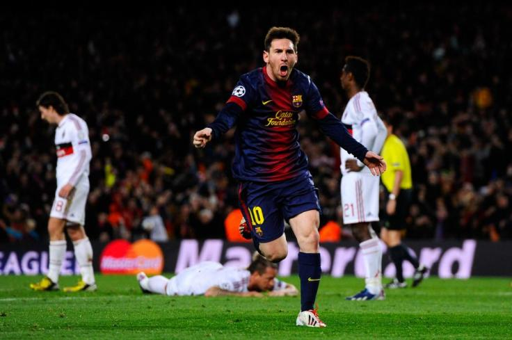 BARCELONA, SPAIN - MARCH 12:  Lionel Messi of FC Barcelona celebrates after scoring his team's second goal during the UEFA Champions League round of 16 second leg match between FC Barcelona and AC Milan at the Camp Nou Stadium on March 12, 2013 in Barcelona, Spain.  (Photo by David Ramos/Getty Images)