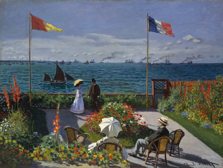 When Camille was pregnant with Jean, Monet, who was penniless, left her in Paris and returned to Le Havre to stay with his aunt. He then immersed himself frantically in his work. His relations with his family (especially his father) at that time seem to have improved perceptibly. The way Monet represents his father on this terrace suggests that the two men were on good terms: he is seated in the foreground beside the woman who would finance the early years of the painter's career to a large extent, his aunt, Marie-Jeanne Lecadre. They are both looking at two other people, Monet's cousin Jeanne-Marguerite Lecadre and a man whose identity remains unknown. The flowers spreading out from this terrace combine with the sea, boats and sky, heralding the major works of Impressionism.