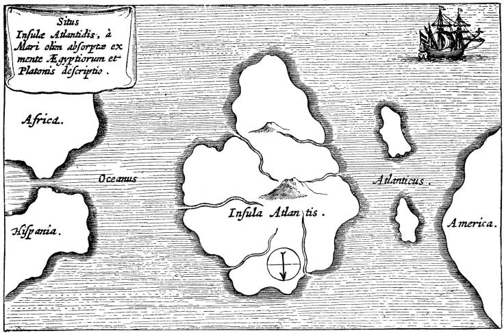 Legendary island of Atlantis. Atlantis was first described by Plato and was said to lie just beyond the Pillars of Hercules (Gibraltar and Mount Hacho). Engraving after a description by Athanasius Kircher (1602-1680), German Jesuit priest and scientist. (Photo by Ann Ronan Pictures/Print Collector/Getty Images)